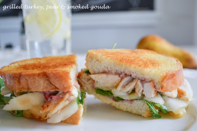 grilled turkey, pear and smoked gouda sandwich