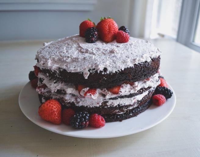 chocolate berry cream cake